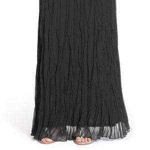 Matty M Black Maxi Crinkled Chiffon Skirt S